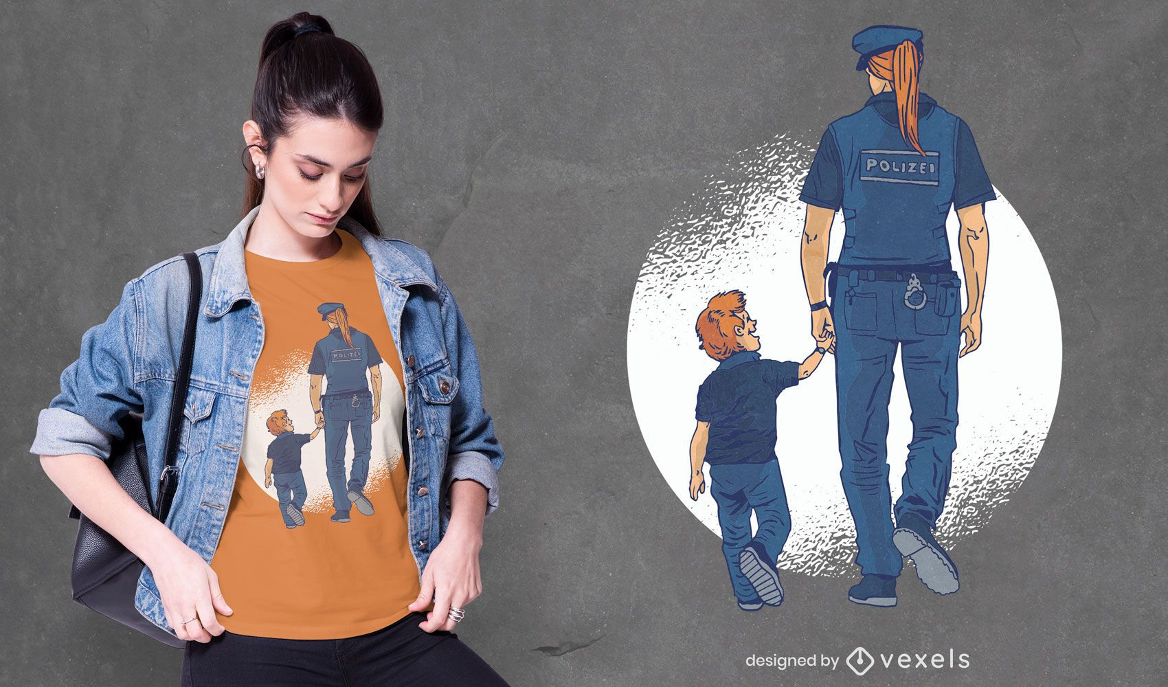Police woman and child t-shirt design