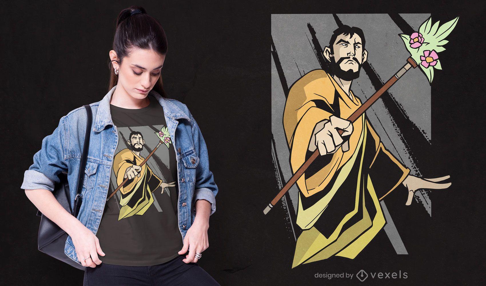Saint Joseph flower staff t-shirt design
