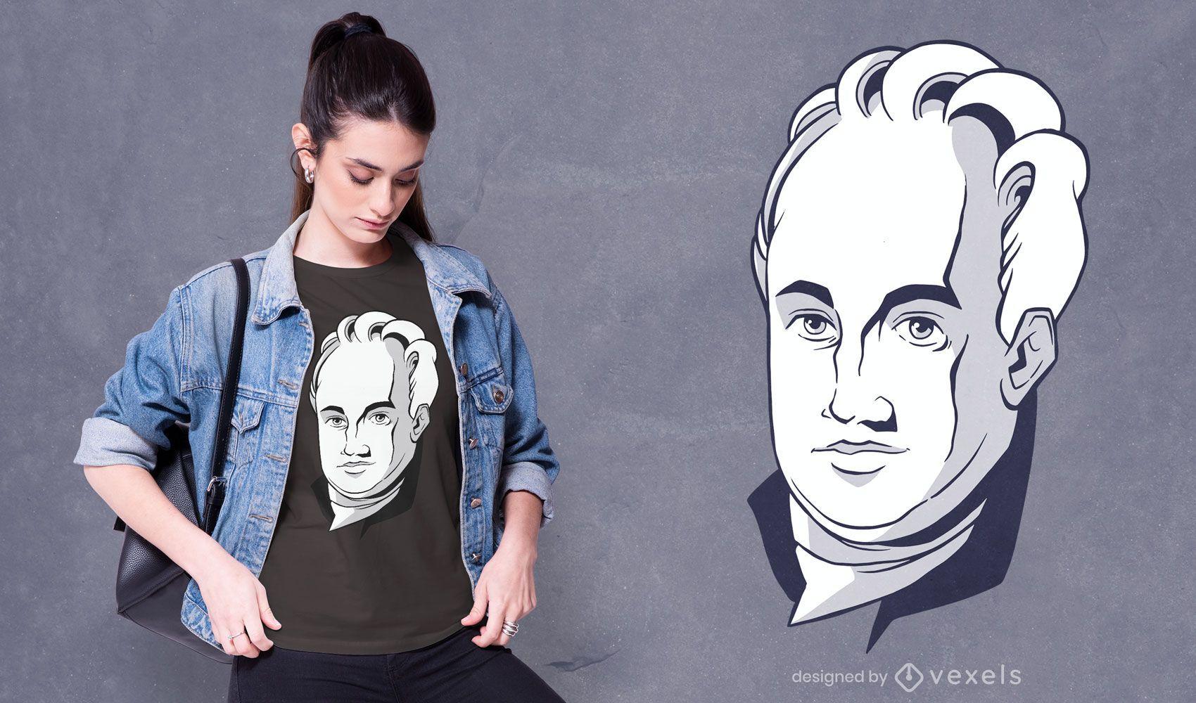 Diseño de camiseta de escritor alemán Goethe.