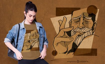 Design de camiseta de homem lambendo os dedos
