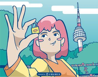 Girl with lock namsan tower illustration