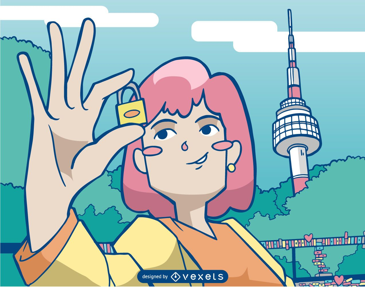 Chica con ilustración de la torre namsan de bloqueo
