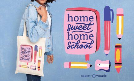 Design de sacola escolar em casa