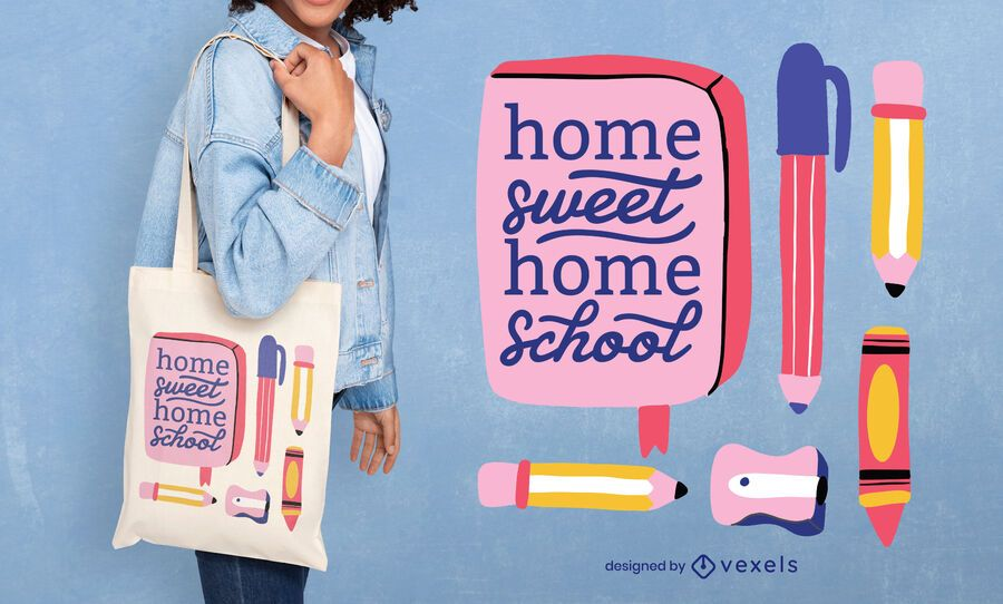 Home school tote bag design