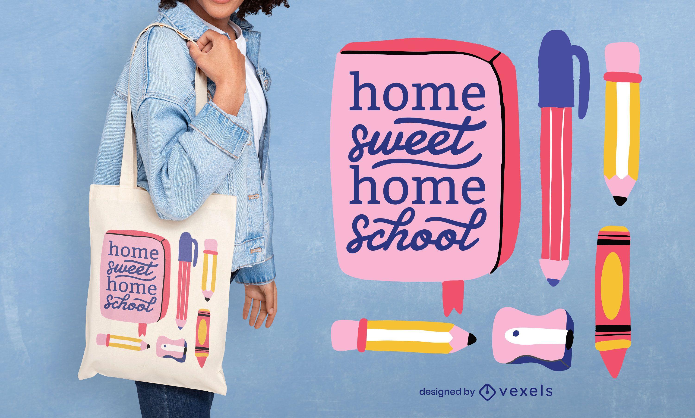 Diseño de la bolsa de asas de la escuela en casa