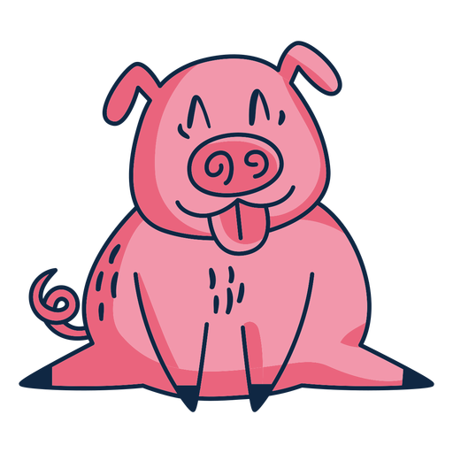 Pig with tongue out cartoon