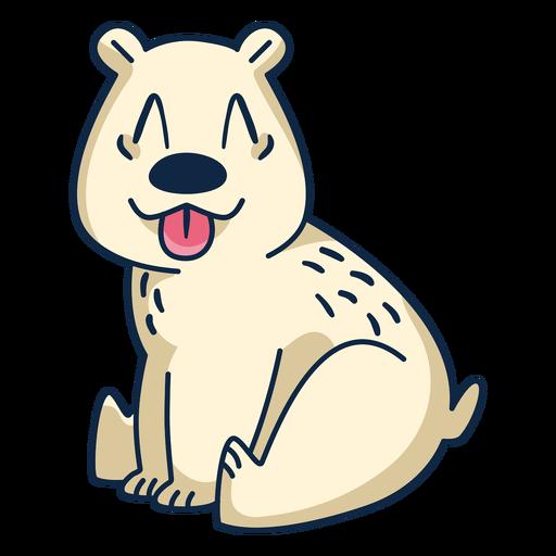 Polar bear with tongue out cartoon