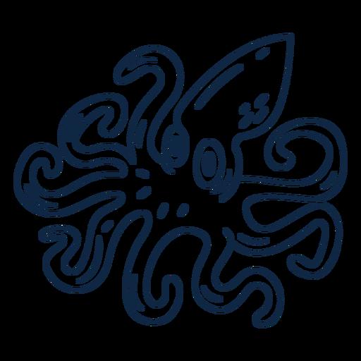 Cartoon squid stroke