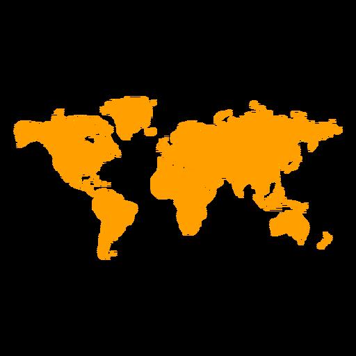 Yellow world map silhouette