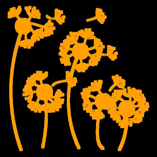 Dandelions in the wind filled stroke