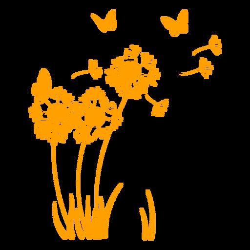 Dandelion and butterflies in the wind filled stroke