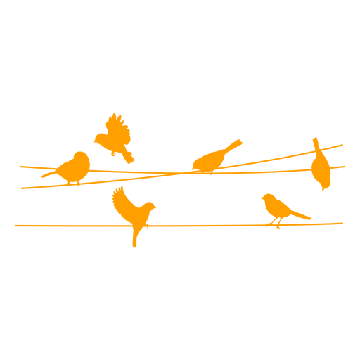 Birds on cables silhouette