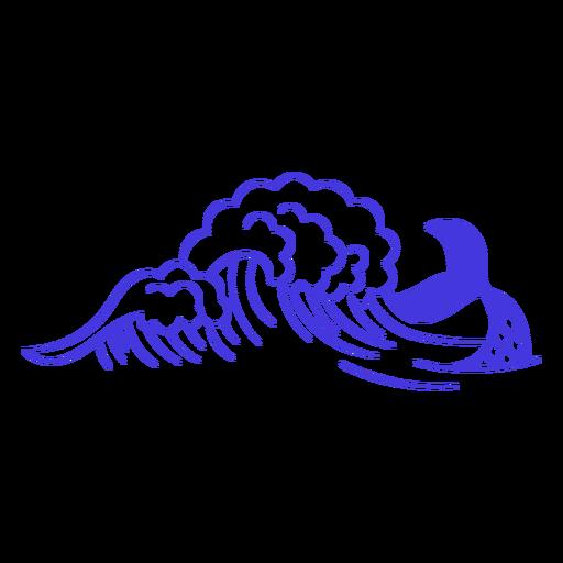 Mermaid in the waves filled stroke