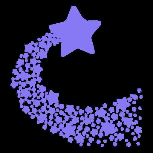 Estrella fugaz morada plana