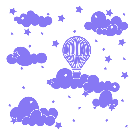 Hot air balloon in the clouds cut out