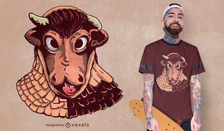 Diseño de camiseta de máscara de carnaval de vaca.