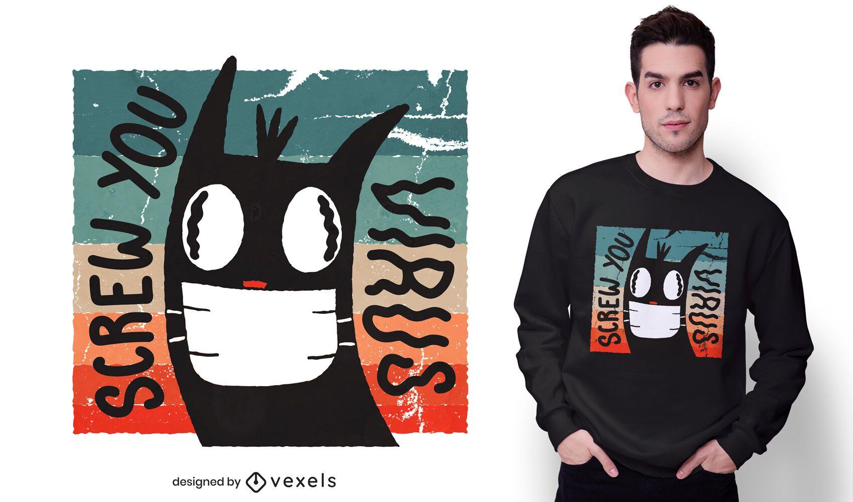 Diseño de camiseta de gato de coronavirus de tornillo