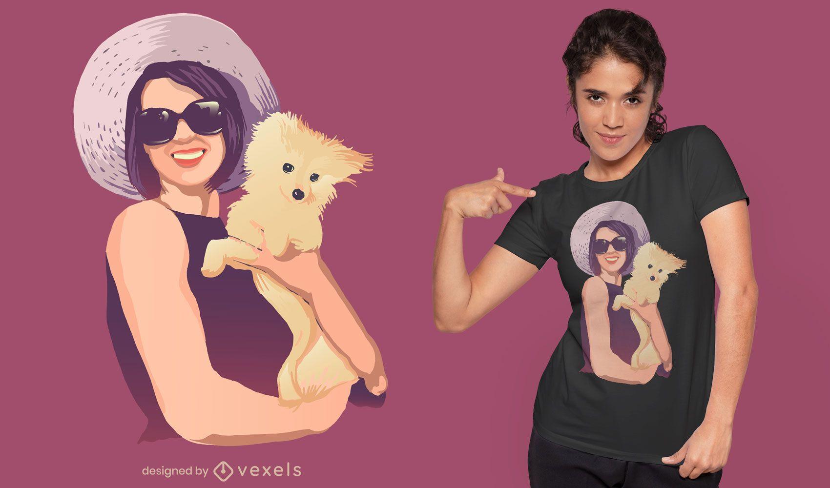 Elegant woman holding dog t-shirt design