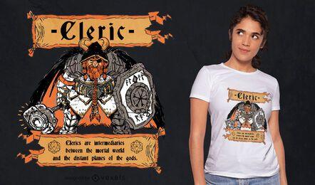 Diseño de camiseta de personaje de fantasía clerical RPG.