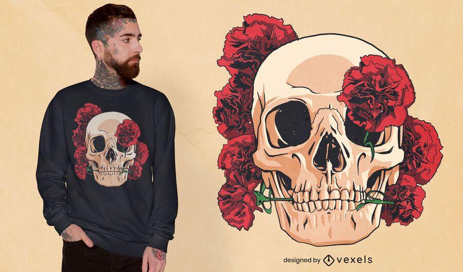 Calavera con diseño de camiseta de claveles rojos.