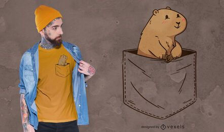 Roedor com design de camiseta de bolso