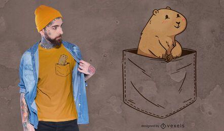 Roedor en diseño de camiseta de bolsillo.