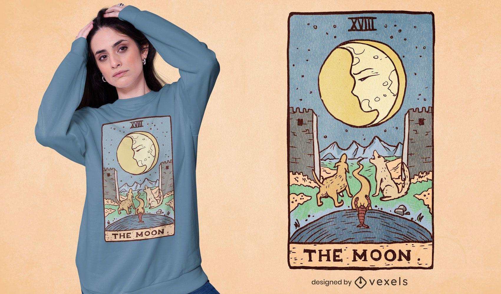 O design da camiseta do tarô da lua