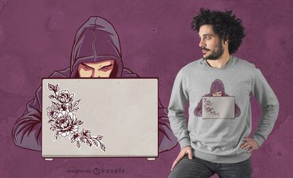Hacker man t-shirt design