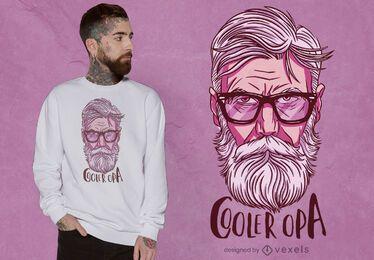 Cooles Großvaterporträt-T-Shirt Design