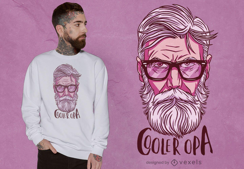 Cool grandfather portrait t-shirt design
