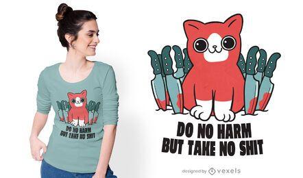 Diseño de camiseta de gato psicópata