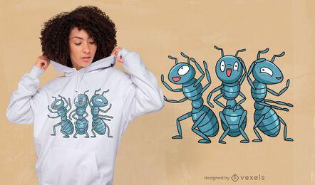 Diseño de camiseta de fiesta de hormigas