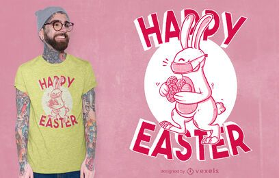 Face mask easter bunny t-shirt design