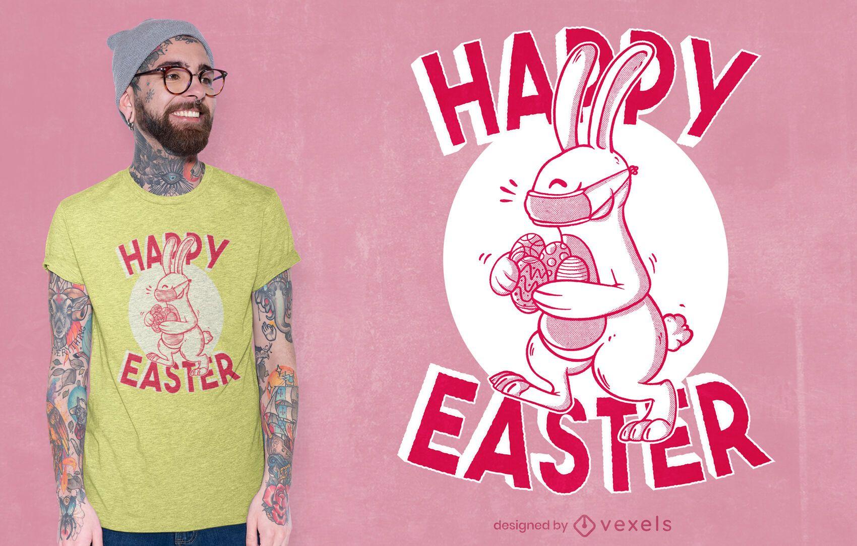 Face mask easter bunny t-shirt design
