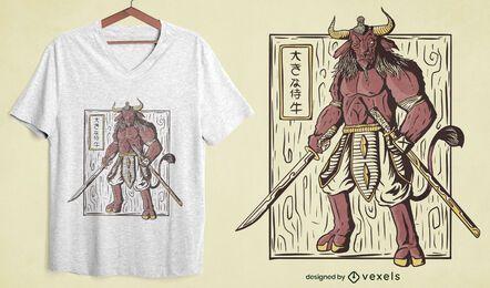 Diseño de camiseta samurai ox