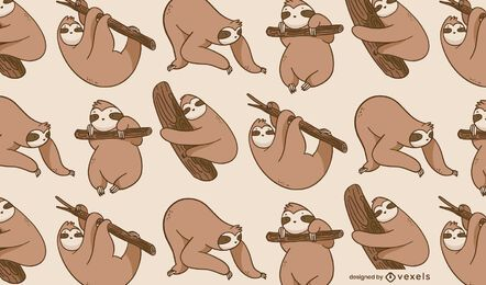 Sloth animal poses cute pattern design