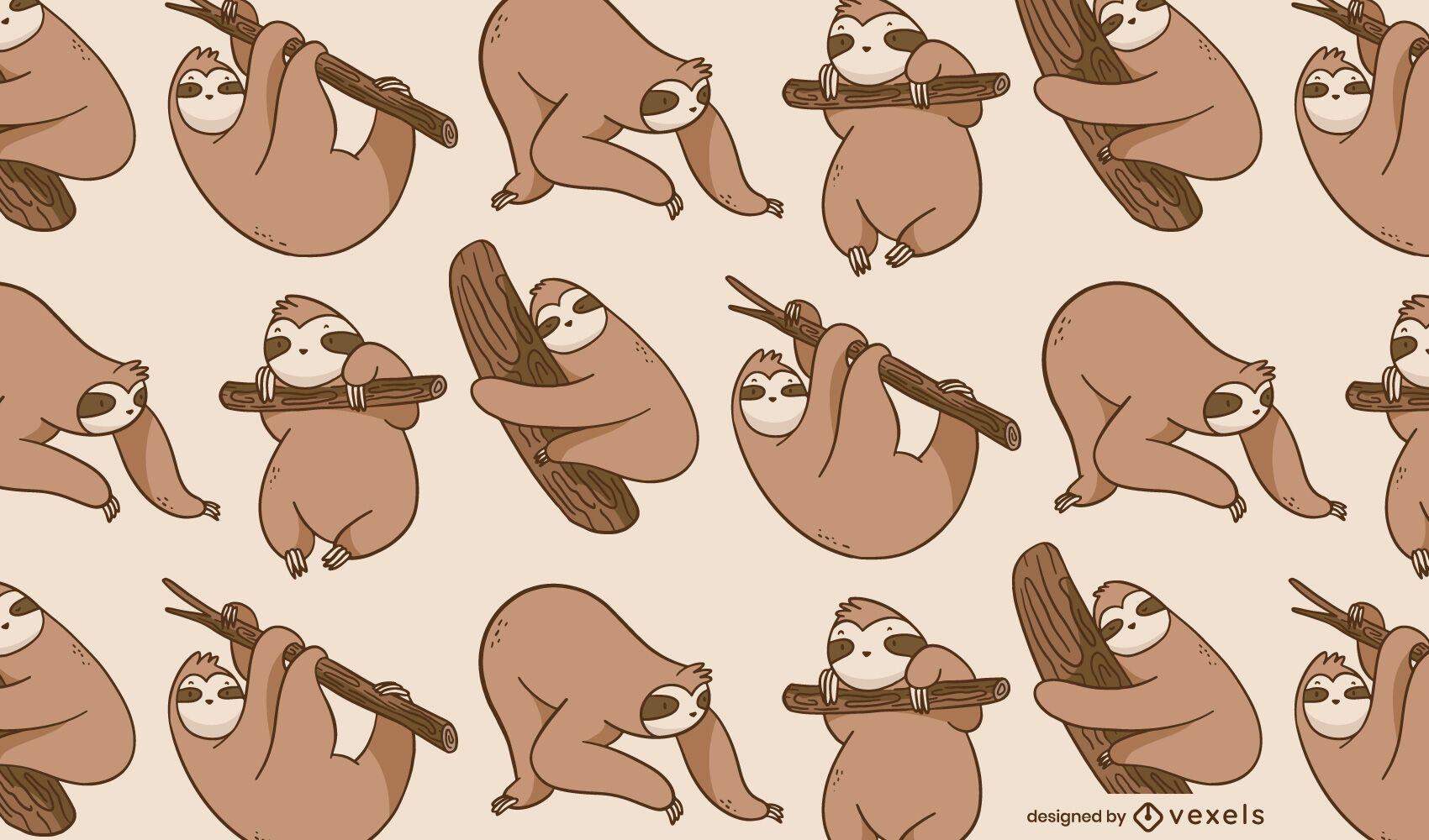 Sloth animal poses cute pattern design