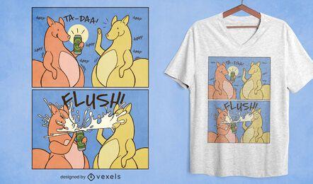 Design de t-shirt de banda desenhada engraçada de cerveja canguru