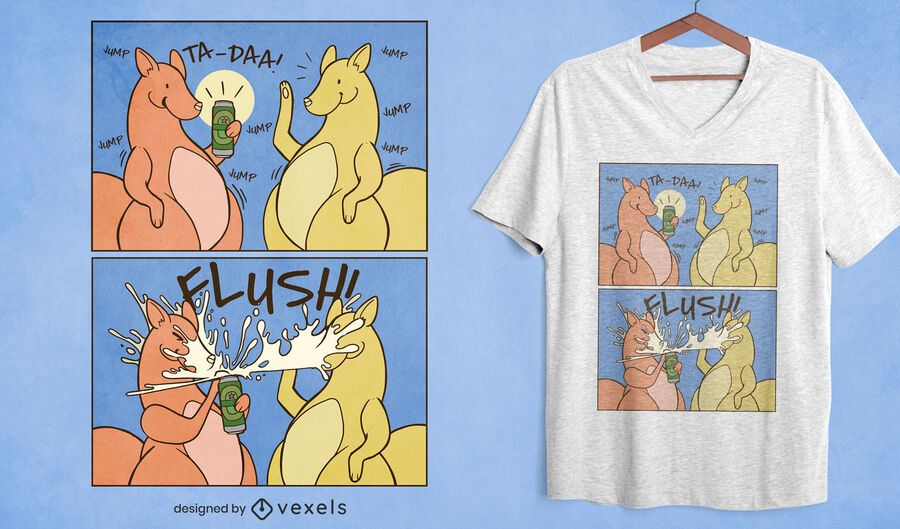 Diseño de camiseta de tira cómica divertida de cerveza canguro.