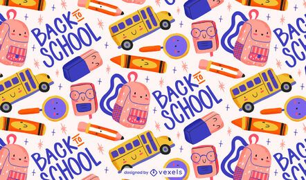 Cute back to school pattern design