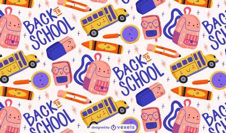 Lindo diseño de patrón de regreso a la escuela