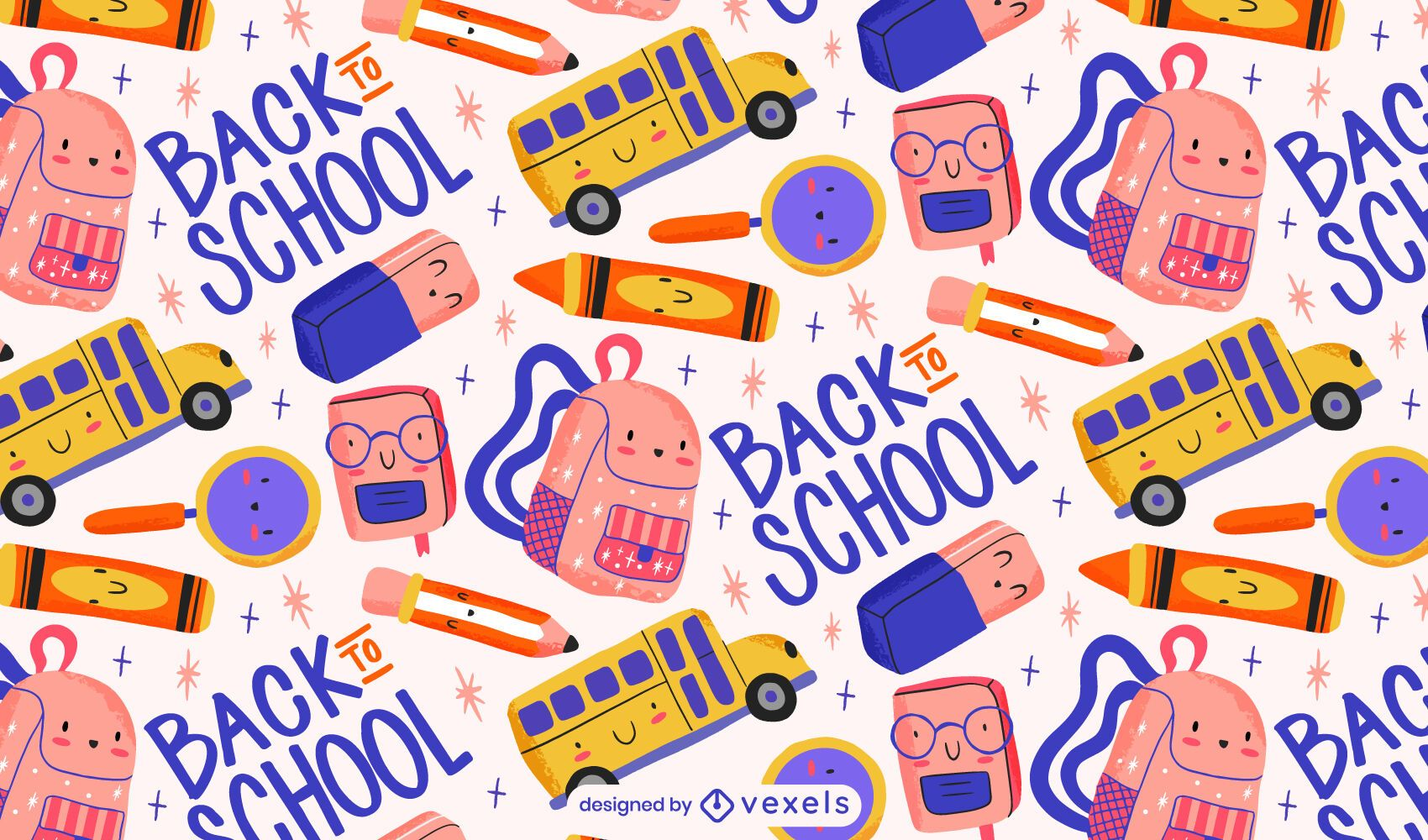Cute back to school pattern design