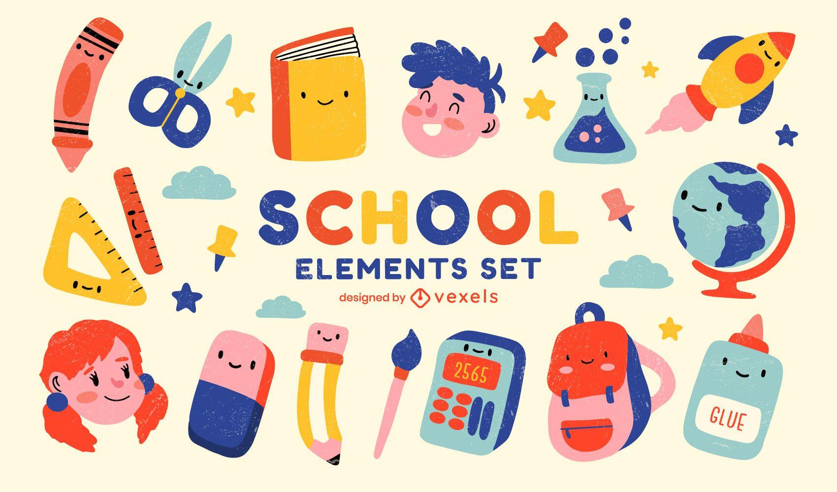Lindo conjunto de elementos de volta às aulas