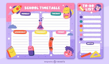 Diseño de planificador semanal de horario escolar.