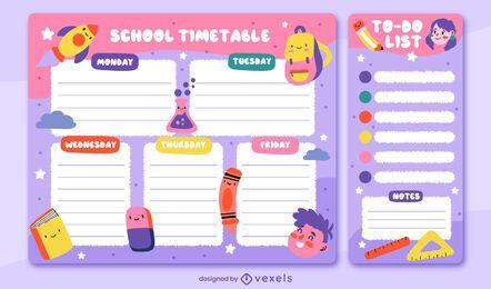 Projeto do planejador semanal do calendário escolar