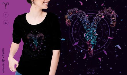Aries floral zodiac sign t-shirt design