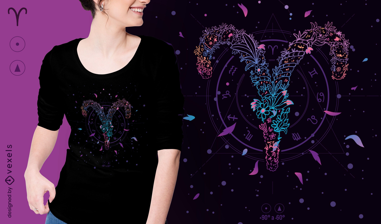 Diseño de camiseta de signo del zodiaco floral de Aries