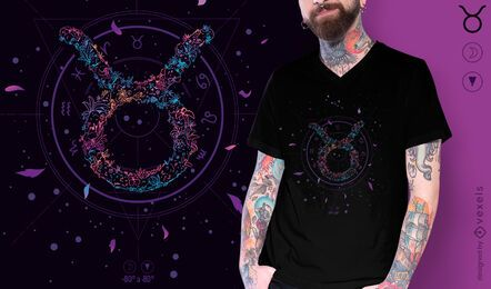 Design floral de t-shirt do signo do zodíaco de Touro