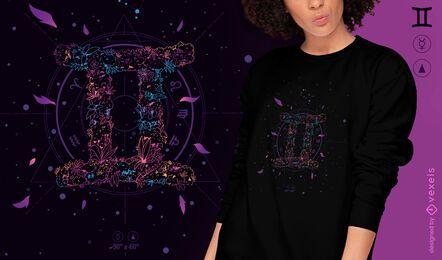 Diseño de camiseta de signo del zodiaco floral de Gemeni