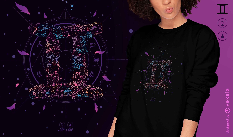 Design floral de t-shirt do signo do zodíaco de Gêmeos